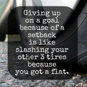 Giving Up on a goal because of a setback is like slashing your other 3 tires because you got a flat quote