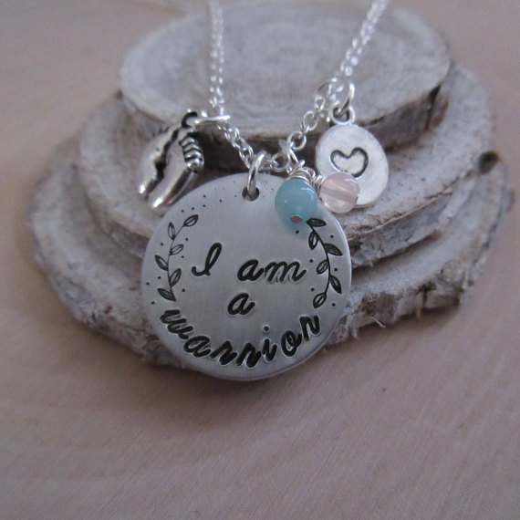 infertility awareness I am a warrior necklace soul cyster creations